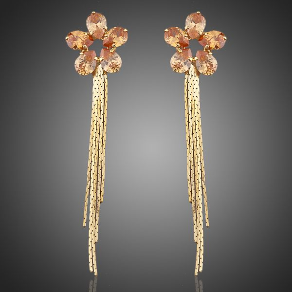 18K Real Gold Plated Cubic Zirconia Drop Earrings - Arista Gems