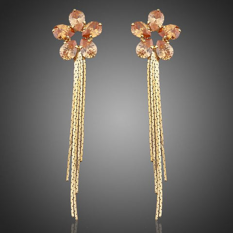 Arista Gems Cubic Zirconia Flower Drop Earrings