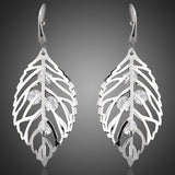 Leaves White Gold Color Stellux Crystal Drop Earrings - seraie