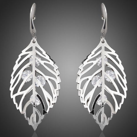 Leaves White Gold Color Stellux Crystal Drop Earrings - Arista Gems