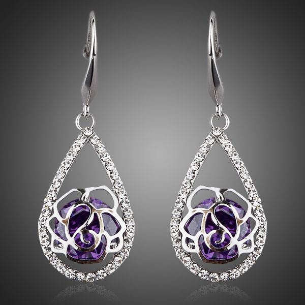 Marquise White Gold Plated Cubic Zirconia Drop Earrings - Arista Gems