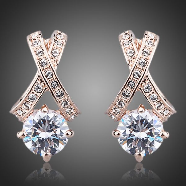 X Element Rose Gold Color Stellux Austrian Crystal Earrings - Arista Gems