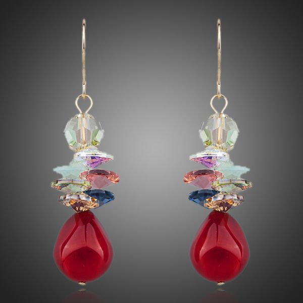 Red Grapes Gold Austrian Crystal Drop Earrings - Arista Gems