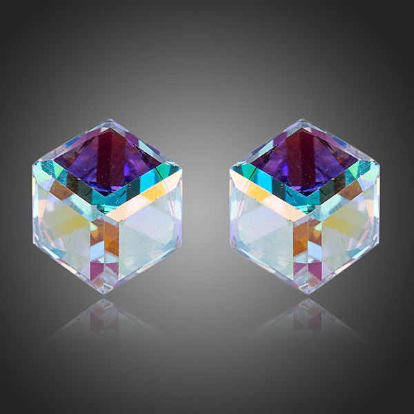 Attractive Gradual Change Crystal Cube Stud Earrings - Arista Gems