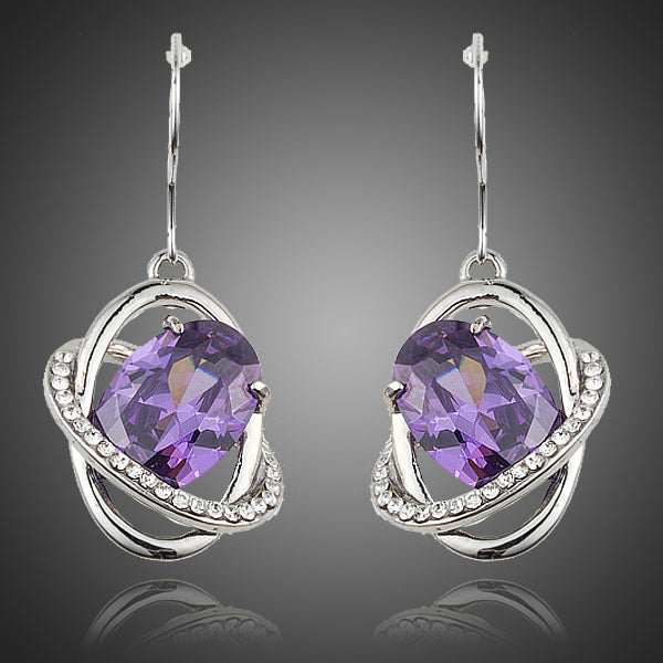 Egg Shape Purple Cubic Zirconia Halo Drop Earrings - Arista Gems