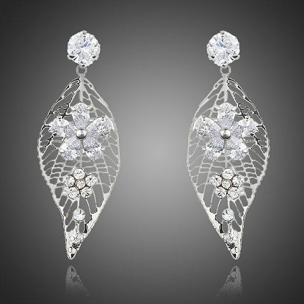 Leaf Design Cubic Zirconia Flower Earrings - Arista Gems