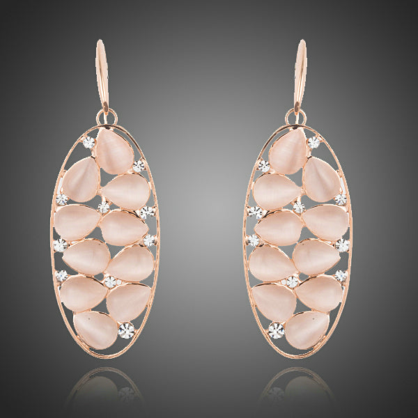 Rose Gold Color Pear Cut Opal Drop Earrings - Arista Gems