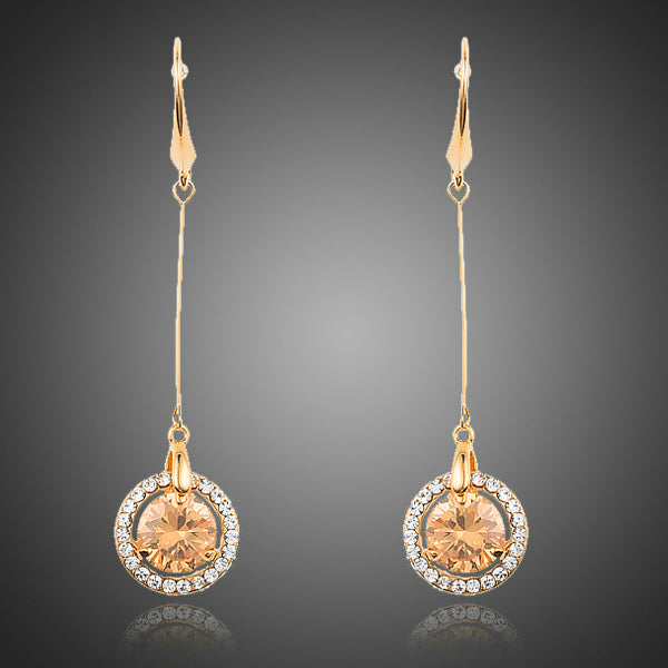 Gold Color Gold Cubic Zirconia Long Line Drop Earrings - Arista Gems
