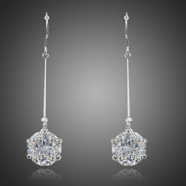 Dangling Five-pointed Star With Clear Cubic Zirconia Drop Earrings - Arista Gems