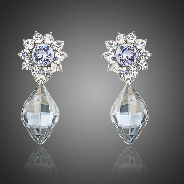 Small Cute Flower With Austrian Crystal Drop Earrings - Arista Gems