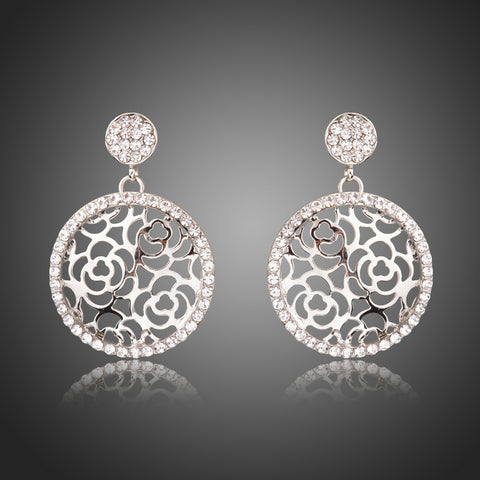 Hollow Flowers Stellux Austrian Crystal Round Drop Earrings - Arista Gems