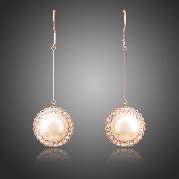 Rose Gold Round Pearl Earrings - Arista Gems