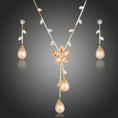 Gold Pearl Cubic Zirconia Earrings and Necklace Set - Arista Gems