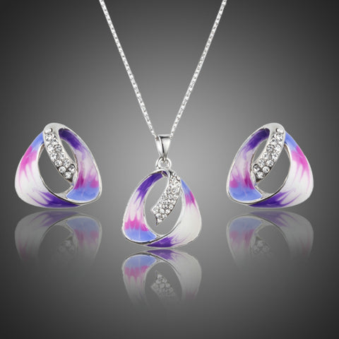 Oil Painting Pattern Austrian Crystal Jewelry Set - seraie