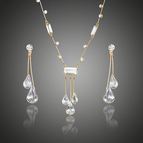 Gold Austrian Crystal Water Drop Earrings and Necklace Sets - Arista Gems