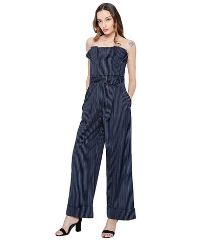 Striped Ruffles Strapless Belt High Waist Long Wide Leg Jumpsuit - Arista Gems