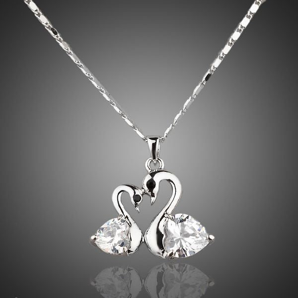 Platinum Plated Crystal Goose Necklace - Arista Gems