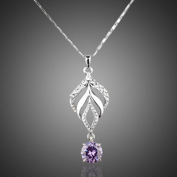 Platinum Plated Purple Water Drop Pendant Necklace - Arista Gems