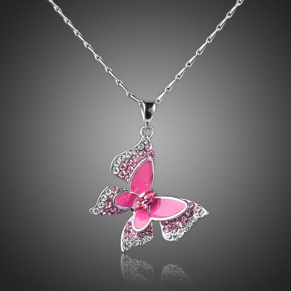 Sparkling White Gold Color Pink Butterfly Necklace - Arista Gems