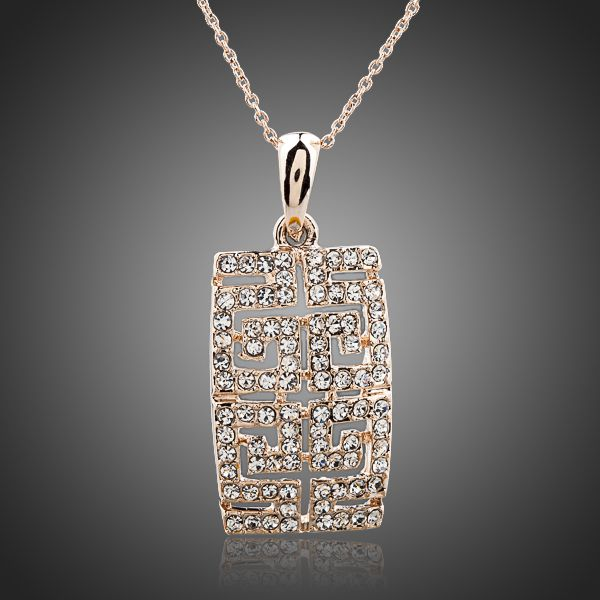 18K Rose Gold Plated Austrian Crystal Pendant Necklace - Arista Gems