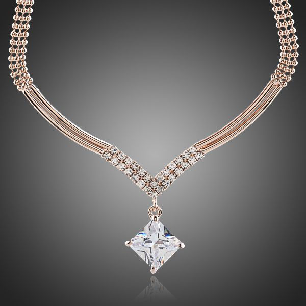 18K Rose Gold Plated CZ Stone Pendant Necklace - Arista Gems