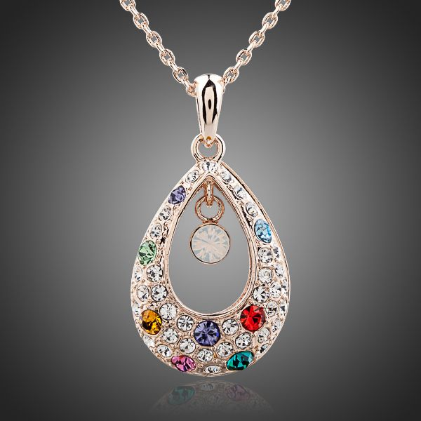 Peacock Princess Tears 18K Crystal Pendant Necklace - Arista Gems