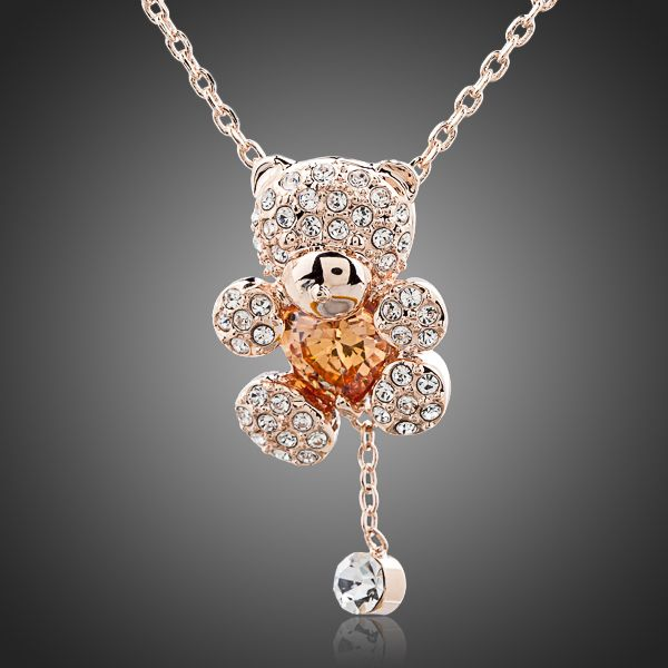 Cute Girl 18K Rose Gold Plated Rhinestones Bear Necklace - Arista Gems