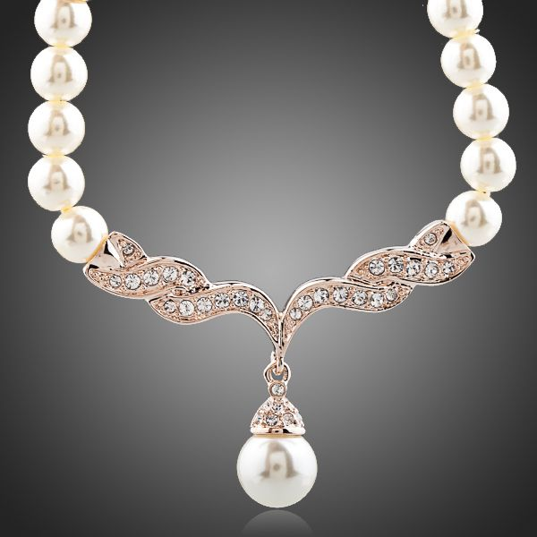 Pearl 18K Rose Gold Plated Austrian Crystal  Necklace - Arista Gems