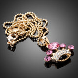 Pink Imperial Crown Gold Pendant Necklace - Arista Gems
