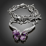 Beautiful Butterfly 4pcs Purple Cubic Zirconia Necklace - Arista Gems