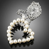 White Gold Color Pearl Heart Long Chain Pendant Necklace - Arista Gems