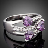White Gold Color 3pcs Purple Heart Stellux Austrian Crystal Ring - Arista Gems