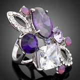 White Gold Color Purple Stellux Austrian Crystal Ring - Arista Gems