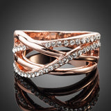 Classic Rose Gold Color Transparent Stellux Austrian Crystal Ring - Arista Gems