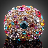 18K Rose Gold Plated Multicolour  Austrian Crystal Ring  - Arista Gems