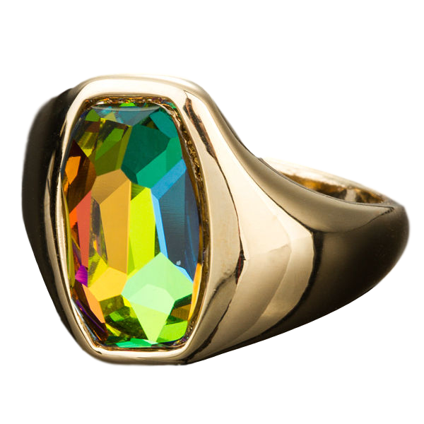Gold Color Gradient Bright Color Stellux Austrian Crystal Ring - seraie