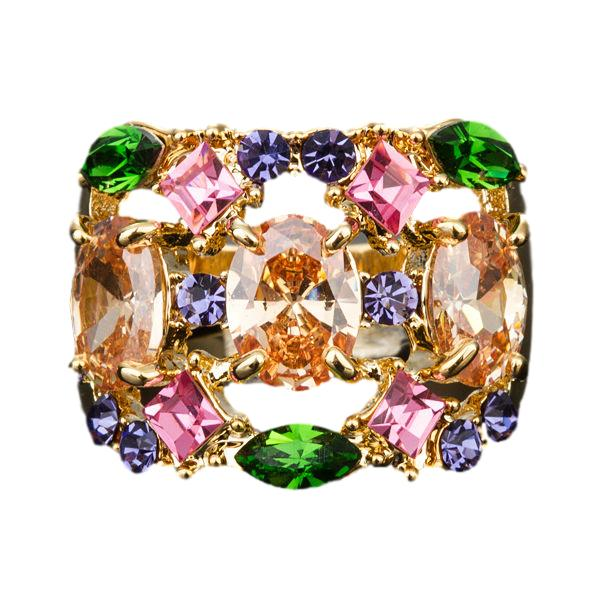 Gorgeous Gold Color Multicolour Cubic Zirconia Ring - Arista Gems