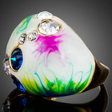 Colourful Gold Color Austrian Crystal Ring - Arista Gems