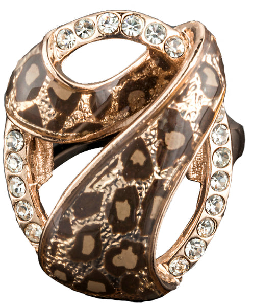 Rose Gold Color 7 Design with Austrian Cystal Leopard Ring - Arista Gems