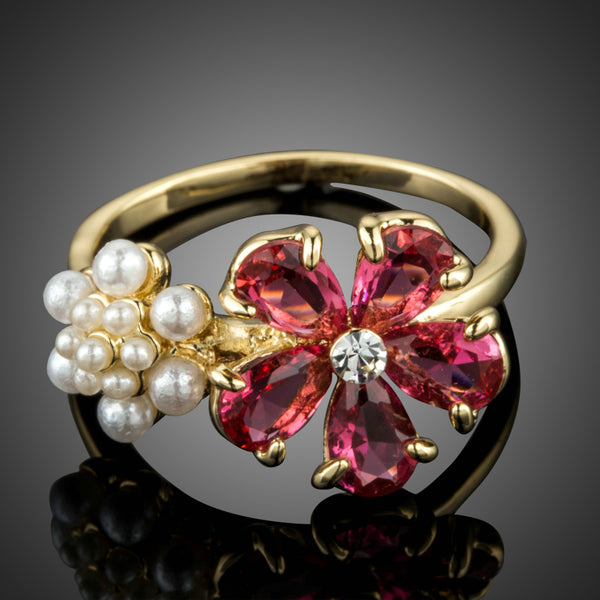 Gold Color Red Cubic Zirconia Flower Ring - seraie