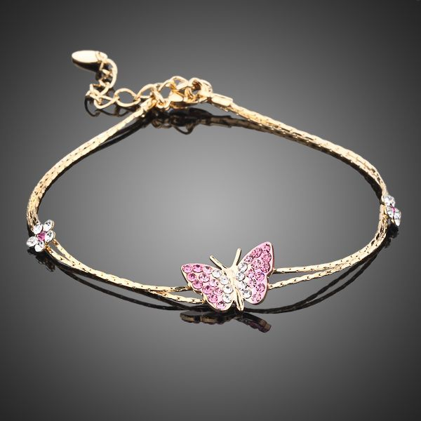 Gold Color Butterfly and Flower Charm Bracelet - Arista Gems