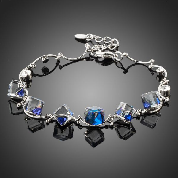 Platinum Plated 6pcs Cube Crystal Charm Bracelet - Arista Gems