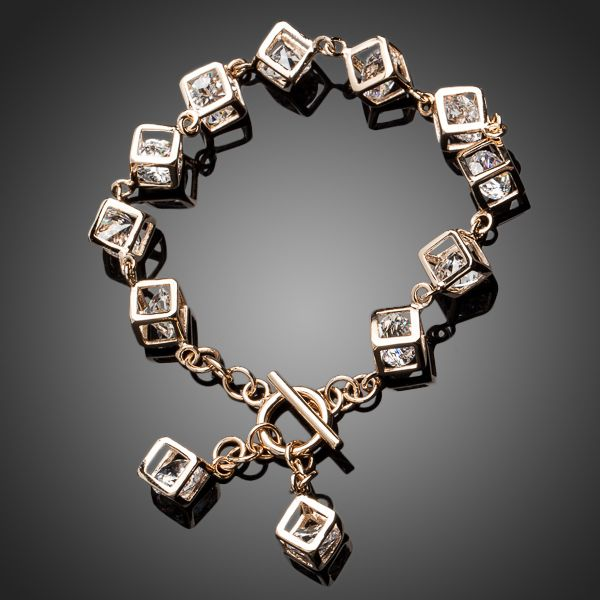 18K Real Gold Plated Crystal 12pcs Cube Charm Bracelet - Arista Gems