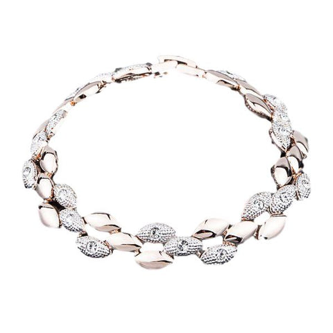 18K Rose Gold Plated Two Tone Rhinestones Bracelet - Arista Gems
