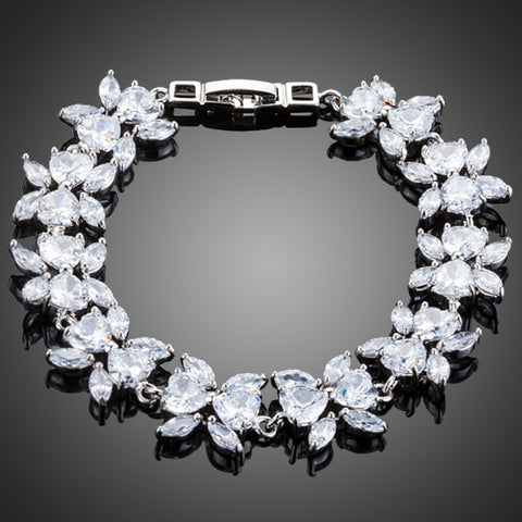 White Gold Color Flower Design Clear Cubic Zirconia Bracelet - Arista Gems