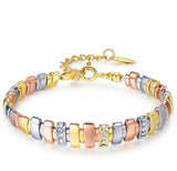 Rhinestone Mixed Color Metallic Chain Bracelet - Arista Gems