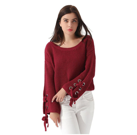 Loose Lace UP Sleeve Pullover Sweater - Arista Gems