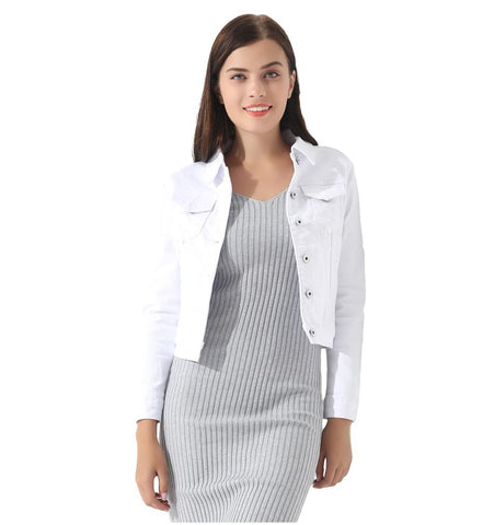 White Denim Denim Slim Short Coat Jacket - Arista Gems