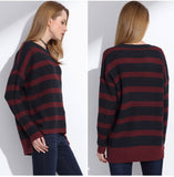 Oversized Striped Pullover Sweater - Arista Gems
