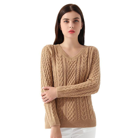 Pullovers Long sleeve Cable Knitted Sweater - Arista Gems